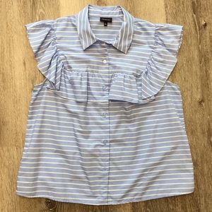 Blue and white stripe flutter sleeve top